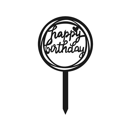 Round Happy Birthday Cake Topper