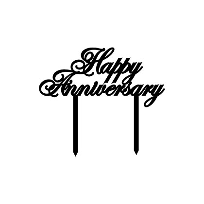 Happy Anniversary Italic Cake Topper