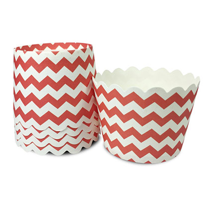 Flat Base Red Chevron Muffin Cups