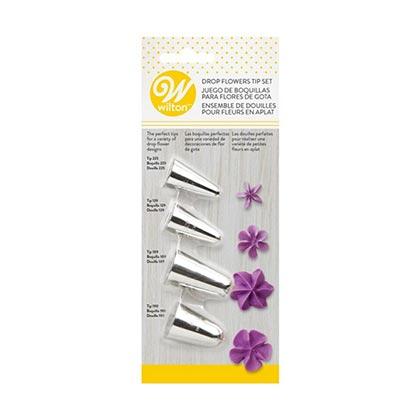 4pcs Wilton Drop Flowers Tip Set