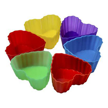 Pack of 6 Heart Shape Silicone Muffin Mould