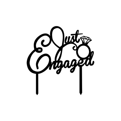 Just Engaged Text Cake Topper