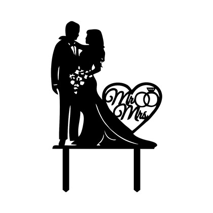Loving Couple with Heart Cake Topper