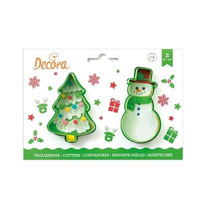 2pcs Christmas Tree & Snowman Cutters