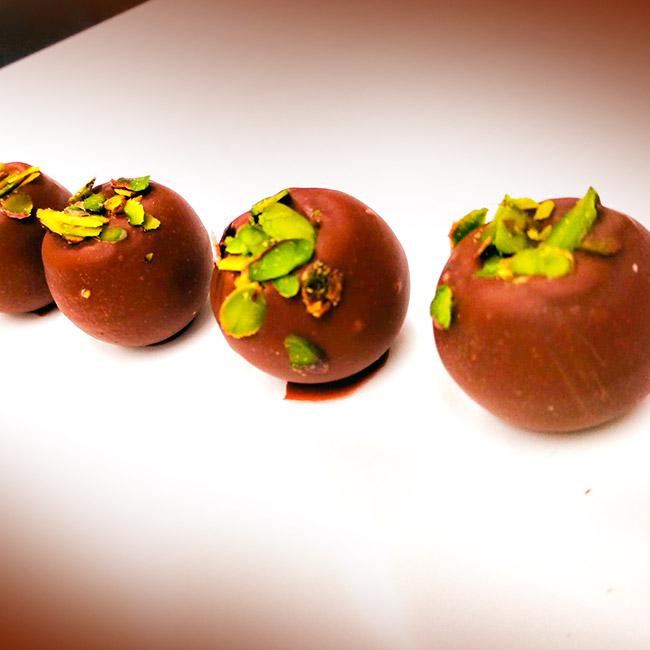 Raspberry Caramel Ganache Truffles