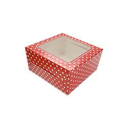 Royal 4 Cavity Polka Dots Cupcake Box