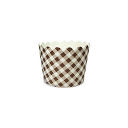 Flat Base Brown Cross Strips Muffin Cups