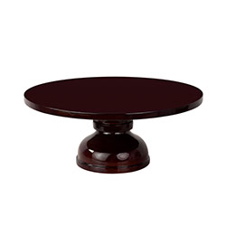 Brown Round Wooden Cake Stand