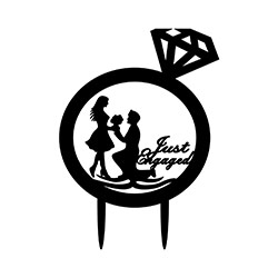 Just Engaged Cake Topper