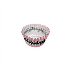 8cm Mini Pink & Black Muffin Liner