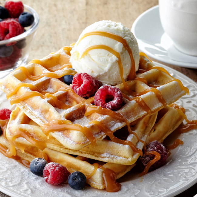 Sweet Waffles with Caramel and Fruits